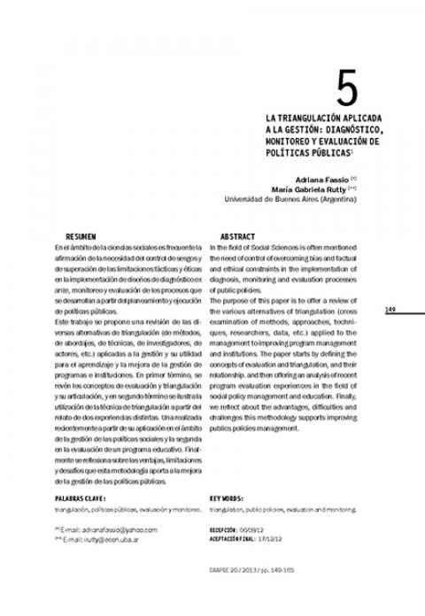 La triangulación aplicada a la gestión: diagnóstico, monitoreo y evaluación de políticas públicas