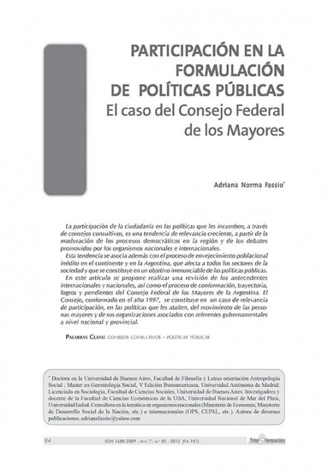 Participación en la formulación de políticas públicas