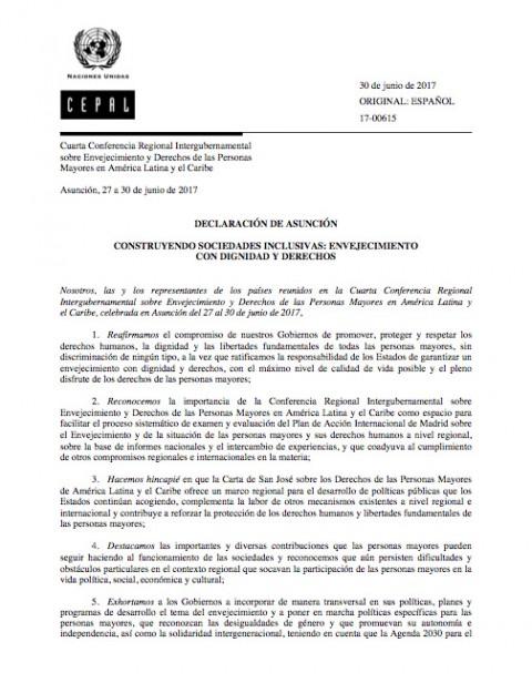 Declaración de Asunción. Construyendo sociedades inclusivas: envejecimiento con dignidad y derechos