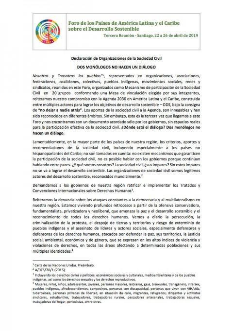 Declaración de Organizaciones de Sociedad Civil