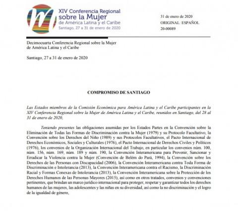 """""""Compromiso de Santiago"""" en la XIV Conferencia Regional sobre la Mujer de América Latina y el Caribe"""