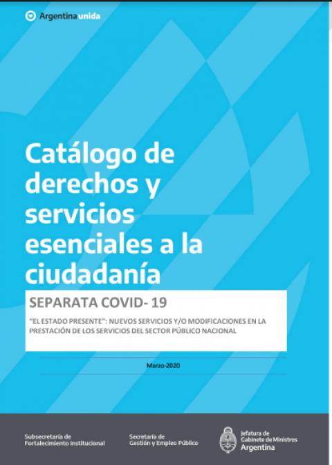 Separata COVID-1. Catálogo de derechos y servicios esenciales a la ciudadanía