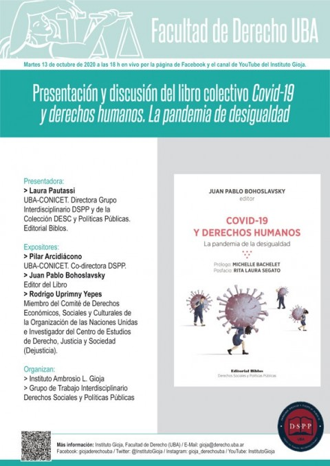 """Se presenta el libro colectivo """"Covid-19 y Derechos Humanos. La pandemia de la desigualdad"""""""